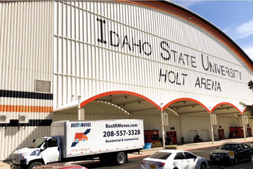 our moving truck right outside the Idaho State University Holt Arena